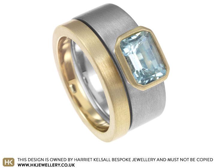 lisa39s aquamarine mixed metal engagement ring and wedding With mixed metal engagement and wedding ring