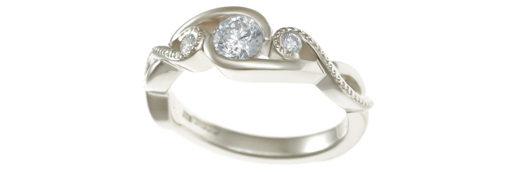 Twist White Gold Engagement Ring