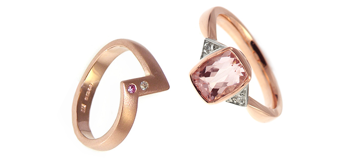 Rose gold and pink sapphire engagement and wedding rings