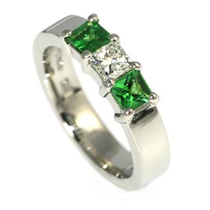 Diamond & Tsavourite Engagement Ring