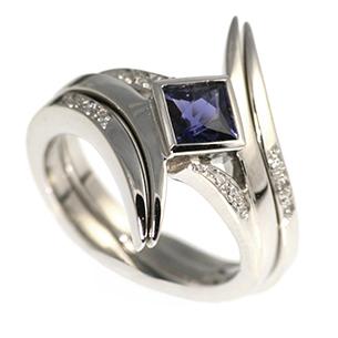 Dragon inspired iolite engagement ring