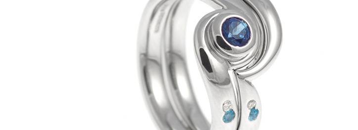 Blue Topaz Wedding and Engagement Ring Set