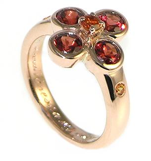 Garnet Flower Inspired Engagement Ring