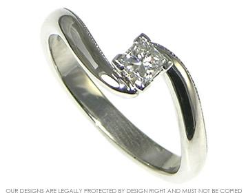 Platinum and princess cut diamond