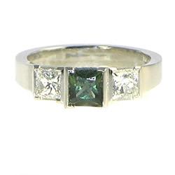 Platinum and green sapphire