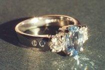 platinum engagement ring with fine aquamarines and diamonds