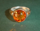 sterling silver dress ring with amber and 9ct gold details