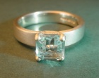 a 9ct white gold and aquamarine engagement ring