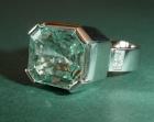 a platinum, aquamarine and diamond engagement ring