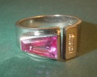 18ct white gold engagement ring with a rare 1.33ct pink sapphire