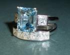 bespoke aqumarine and diamond engagement ring and diamond wedding ring