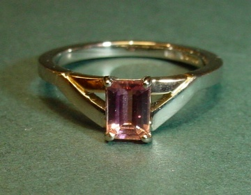 18ct white and rose gold engagement ring with emerald cut tourmaline