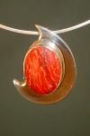 one-off snakeskin jasper and sterling silver 'boomerang' pendant