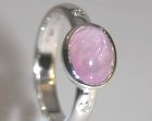 simple and smooth 18ct white gold engagement ring with pink sapphire and diamonds