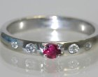 platinum 0.24cts deep red ruby and diamond ring