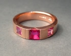 9ct rose gold ruby and sapphire engagement ring