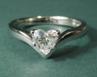 platinum solitaire engagement ring with 0.53cts heart shaped diamond