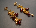 garnet, costume gold chain and bead earrings