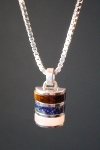 one-off sterling silver necklace with tigers eye, lapis and rose quartz