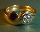 18ct 3 coloured gold engagement and wedding ring with a diamond and ruby