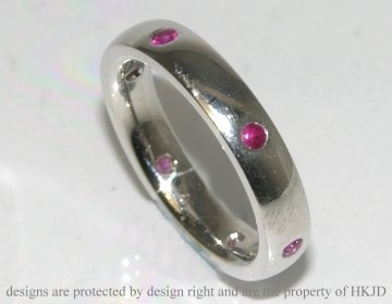 9ct white gold ceylon ruby eternity ring