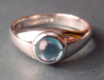 smooth sterling silver ring with london blue topaz