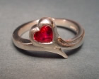 9ct white gold delicate engagement ring with heart shaped ruby