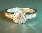 9ct white gold engagement ring with customer's own diamonds