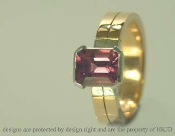 rose and white gold ring with emerald cut 1.86cts plum tourmaline