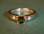 18ct white and yellow gold tourmaline and diamond engagement ring