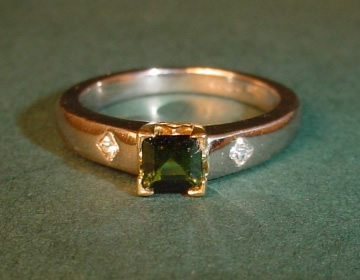 18ct white and yellow gold tourmaline and diamond engagement ring