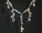 18ct white gold and swarovski crystal necklace and earrings set