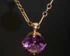 bespoke gold and synthetic alexandrite pendant