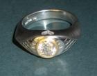 bespoke platinum and yellow gold angel inspired engagement ring