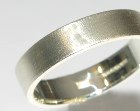 9ct white gold 5mm wide flat profile wedding band with a turnstall finish