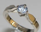 18ct white gold 0.57cts pale blue sapphire solitaire engagement ring