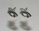 9ct white gold earrings with 2.1mm brilliant cut rubies