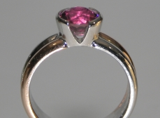 9ct white and rose gold engagement ring with plum coloured tourmaline 1.79cts