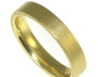 18ct yellow gold reverse d wedding band with pin mop finish applied by hand