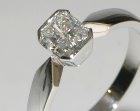 platinum engagement ring with a rare radiant cut diamond