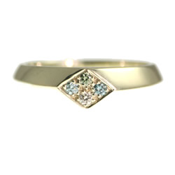 art deco white gold engagement ring with coloured heat-treated diamonds
