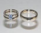 bespoke sapphire and diamond engagement ring and wedding bands
