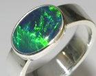 silver ring with the customers own opal