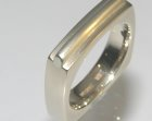 18ct white gold square ring with 9ct overlay