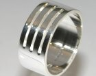 silver polishedcontemporary architecture inspired mans ring