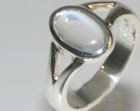 commissioned engagement ring in silver with a lovely oval blue moonstone