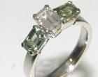 platinum, diamond and green sapphire engagment ring