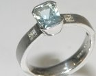 9ct white gold commissioned engagement ring with an aquamarine