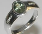 natural green sapphire and diamond engagement ring