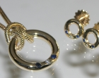 unusual gold sapphire and diamond celtic inspired pendant and earrings